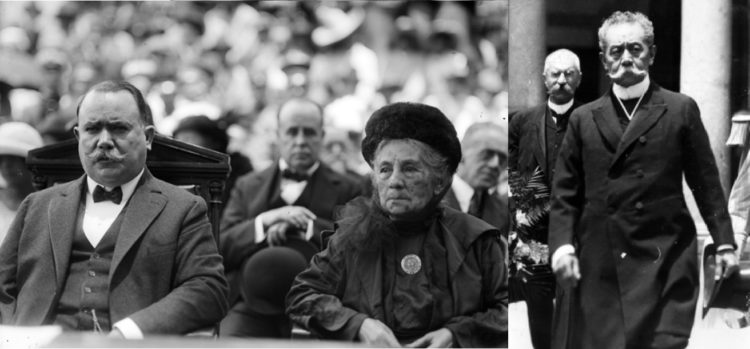 En la imagen de la izquierda Margarita Juárez Maza sentada junto a Álvaro Obregón en el panteón de San Fernando, durante un homenaje a su padre entre 1920 y 1924; a la derecha Benito Juárez Maza, un hombre, a decir de los historiadores, sin oficio ni beneficio, que sólo se valió del nombre para hacer negocios.
