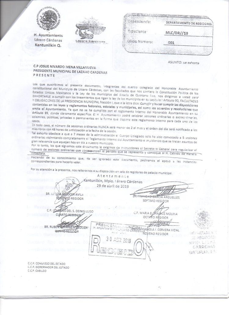 Oficios enviados por los regidores al presidente municipal, Josué Nivardo Mena Villanueva, donde se le solicita la realización de la XV sesión extraordinaria de Cabildo.