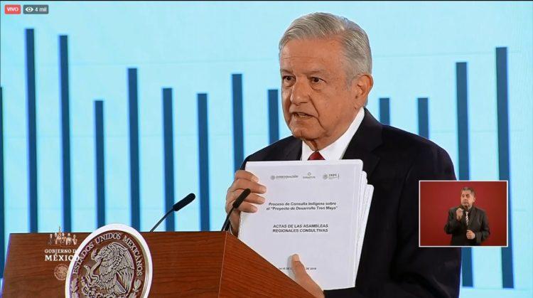 El Presidente Andrés Manuel López Obrador confirmó que el proyecto del Tren Maya fue avalado por el 92.3 por ciento de los votantes.